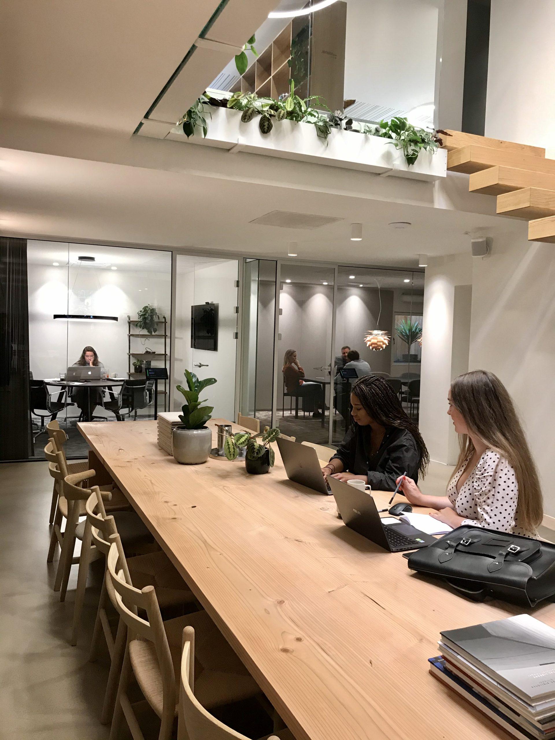 Coworkingområdet samt mødelokaler til 5 og 12 personer